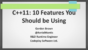 Slides for C++11: 10 features you should be using